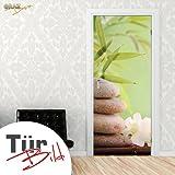 Graz Design 791237_092 Tür-bild/aufkleber/Deko/poster, Badezimmer Kieselsteine Wellness, 92 x 213 cm