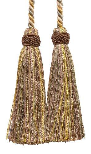 Double Tassel/beige, Doré, Vert/Tassel Cravate avec glands 10,2 cm, 66 cm propagation (longueur de cordon), Imperial II Collection Style # ICT Couleur : Winter Prairie – 2935