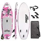 THURSO SURF Niña/Niño/Junior Tabla Paddle Surf Hinchable Prodigy 228 x 76 x 10 cm Construcción de Dos Capas Deluxe Incluye Remo con Eje de Carbono/2+1 Aleta/Correa/Bolsa de Lona (Pink)
