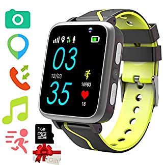 Niños Musica Smartwatch, Reloj Inteligente para niños con Reproductor de música MP3 [Micro SD de 1GB Incluido] Cámara podómetro FM Reloj Despertador SOS Linterna para niños niñas(Rosa)