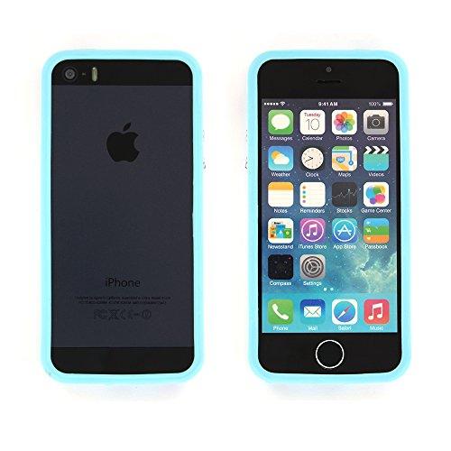 Flip-Case APPLE IPHONE 5S / IPHONE SE [Le Clap Touch Premium] [Weiss] von MUZZANO + STIFT und MICROFASERTUCH MUZZANO® GRATIS - Das ULTIMATIVE, ELEGANTE UND LANGLEBIGE Schutz-Case für Ihr APPLE IPHONE  Weiss und blau Lagune + 3 Displayschutzfolien