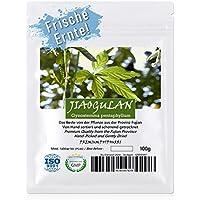 JIAOGULAN (Unsterblichkeitskraut) - Natürliche Wildsammlung | Ganze Blätter ohne Stängel | TOP-Qualität vom Original | ISO-9001-zertifiziert | 100% rein + laborgeprüft + schonend getrocknet | 100g