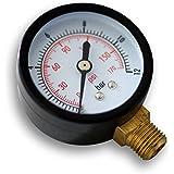 """Druckanzeige Druckbehälter/Manometer radial DN8 (1/4"""") 12.9mm 0-12bar 0-170 PSI Durchmesser ~50mm"""