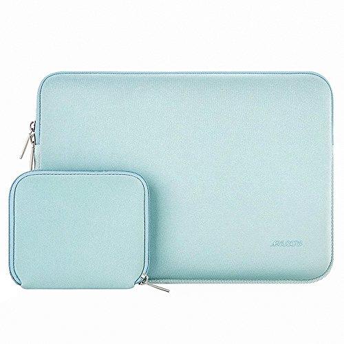 MOSISO Sleeve Hülle Tasche Kompatibel 15-15,6 Zoll MacBook Pro, Notebook Computer Wasserresistente Lycra Laptophülle Laptoptasche Notebooktasche mit Kleinen Fall, Mint Grün