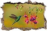 Grüner Kolibri trinkt vom Blütennektar Wanddurchbruch im 3D-Look, Wand- oder Türaufkleber Format: 62x42cm, Wandsticker, Wandtattoo, Wanddekoration