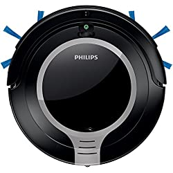 Philips FC8710/01 - Robot aspirador, diseño súper compacto 6 cm, 2 fases, programación 24 h, con mando, color plateado metálico y negro intenso