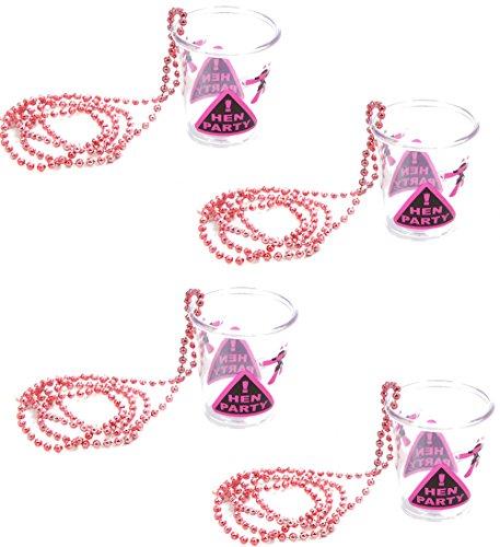 4 Stück Schnapsgläschchen Glas mit Perlenkette Aufschrift HEN PARTY für Junggesellenabschied