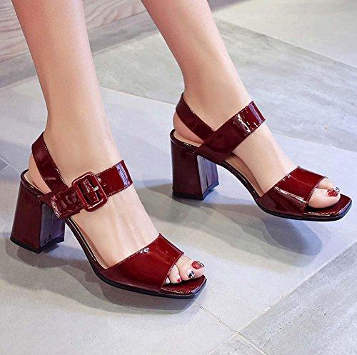 Onfly Le signore sandali semplice plateau grosso con tacco alto Cinturino alla caviglia sandali red wine