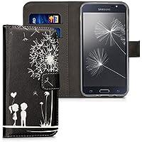 kwmobile Custodia portafoglio per Samsung Galaxy J5 (2016) DUOS - Cover a libro in simil pelle Design soffione amore Flip Case con porta carte funzione appoggio bianco nero