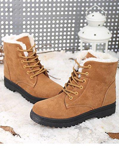 Minetom Donna Autunno Inverno Lace Up Pelliccia Neve Stivali Snow Boots Stivali Cavaliere Sneaker Moda Cachi