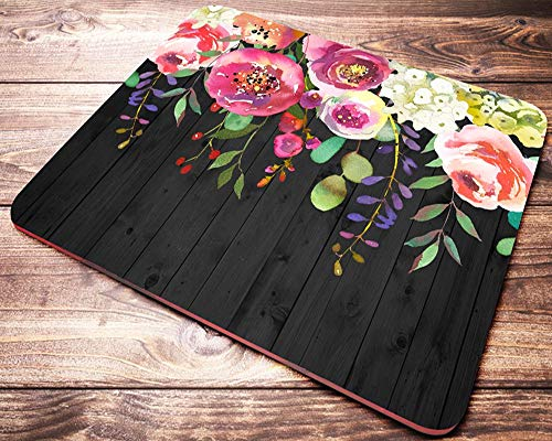Beautiful Womens Floral Mouse Pad Watercolor Flowers Mousepad Desk Accessories for Women and Coworkers Teacher Gifts