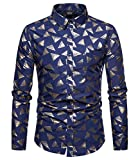 Versaces Männer Hemd Geschäft Heißprägen Mode Revers Baumwolle Lange Ärmel Freizeit Hemd, Color 3, M