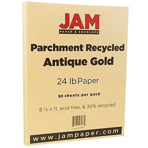 JAM PAPER Papel Pergamino - 215,9 x 279,4 mm - 90gsm - Oro Antiguo Reciclado - 100 Hojas/Paquete