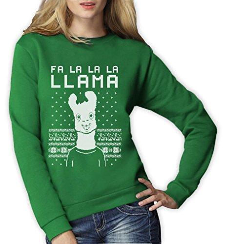 """Maglione di Natale divertente con scritta """"Fa la la Llama"""" da donna Green"""