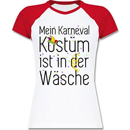 Shirtracer Karneval & Fasching - Mein Karneval Kostüm ist in der Wäsche - Zweifarbiges Baseballshirt/Raglan T-Shirt für Damen Weiß/Rot