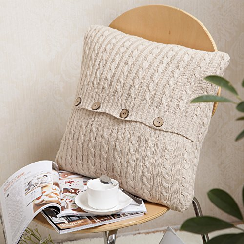 Sanifer Cable Knit Cotton Throw Pillow Case Cushion Cover for Sofa Couch Bed (1 Case + 1 Pillow, Beige)