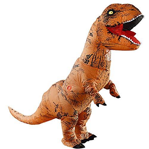 RNGNBKLS T-Rex Dinosaurier Aufblasbares Kostüm Blow Up Fun Maskerade Halloween Kostüm,150-195cm