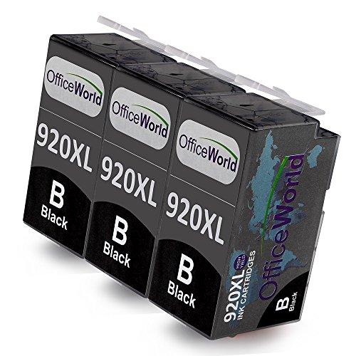 OfficeWorld Kompatible Patronen Ersatz für HP 920XL Schwarz Druckerpatronen Hohe Kapazität Kompatibel mit HP Officejet 6500 6000 7000 7500 Drucker, Packung mit 3 Stück