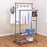YMJ Garderobe Edelstahl hängen Aufhänger bodenstehend Doppel Pole Kleiderbügel Schlafzimmer Wohnzimmer stehend modern Einfachheit