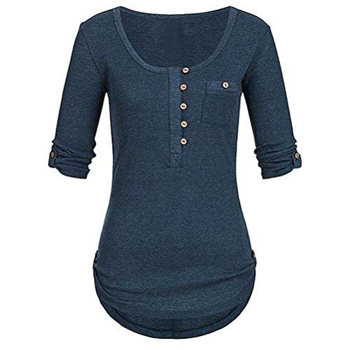 iYmitz Damen Solide Langarm Knopf Bluse Pullover Tops Shirt Mit Taschen(Marine,EU-42/CN-L)