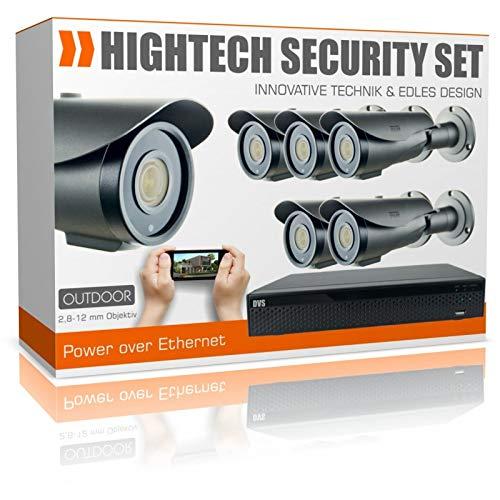 IP Videoüberwachung Set 4K HDMI Rekorder mit 6 Nachtsicht HD PoE Kameras - 8000GB Festplatte