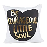 Yvelands Gold Foil Printing Pillow Case Sofa Waist Throw Cushion Cover Home Decor