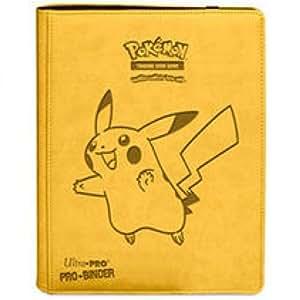 Pokémon - Jeux de Cartes - Portfolios - Premium Pro-binder - Simili Cuir Jaune Pikachu - 20 Pages De 18 Cases
