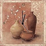 Artland analogico da parete di quarzo orologio digitale della Stampa tela su telaio in legno con motivo K. Frolova Primavera nella valle di fergana Natura morta Vasi & vasi pittura Ocra 30x 30x 2,8cm a0wt