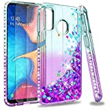 LeYi Galaxy A20e Case with Tempered Glass Screen Protector [2 pack], Girl 3D Glitter Liquid Cute Personalised Clear…