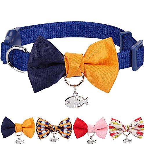 Blueberry Pet Zeitloses Marineblau & Orange Farbblock Verstellbares Breakaway Katzenhalsband mit Klassischer Fliege & Fischanhänger, Hals 23cm-33cm, Fliege 6cm * 4.5cm (Kätzchen Halsband Breakaway)