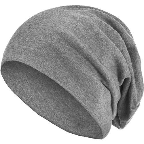 style3 Warme Herbst Winter Slouch Beanie XXL aus atmungsaktivem, feinem und leichten Jersey Unisex Mütze Wintermütze One Size, Farbe:Hellgrau -