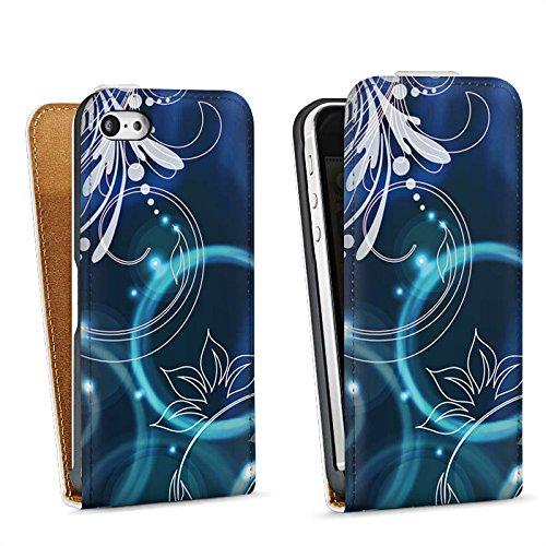 Apple iPhone 4 Housse Étui Silicone Coque Protection Ornements Fleurs Fleurs Sac Downflip blanc