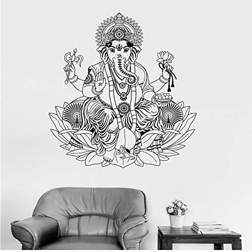 Mhdxmp Vinyl Wandtattoo Ganesha Lotus Hinduismus Gott Hindu Indien Dekor Wandaufkleber Elefant Wandaufkleber Steuern Dekor Wohnzimmer 56 * 65 Cm