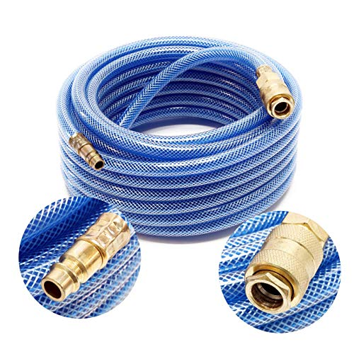 Wiltec PVC Druckluftschlauch mit Schnellkupplung, 10 Meter Länge, Benzin- & Ölbeständig -