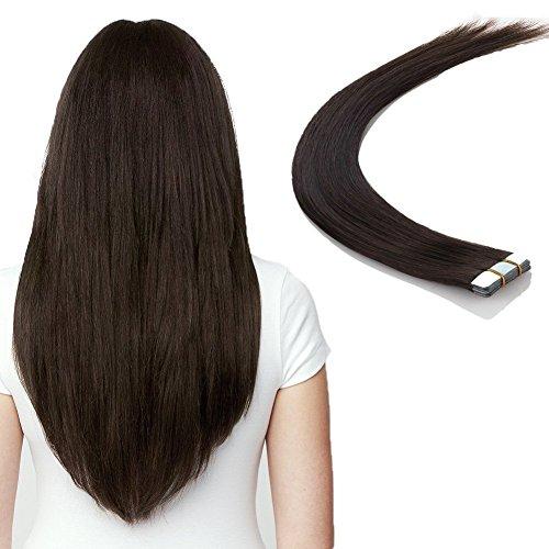 Tape in Haar Extensions -100% Remy Echthaar Haarverlängerung glatt 20 Tressen -Dunkelbraun 40cm 50g