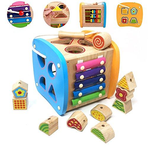 Lewo De madera Clasificador de formas Centros de Actividad Cuentas de encaje Juguetes de desarrollo temprano para Niños pequeños