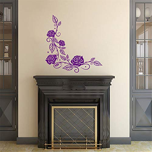 wlwhaoo Rose Blumen Wandaufkleber Wohnkultur Wohnzimmer Schlafzimmer Wandkunst Wanddekoration lila 58cmx58cm