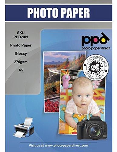 PPD A5 A getto d'inchiostro carta fotografica lucida Super Premium 270 G/M² - 50 fogli