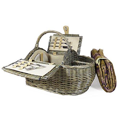 Luxus 2Personen Picknick Korb und Zubehör–Boot Style Kollektion, einschließlich Qualität Lila Tartan Picknickdecke–Geschenk Ideen für Vatertag, Valentinstag, Muttertag, Geburtstag, Business, Hochzeit, Jahrestag und Corporate