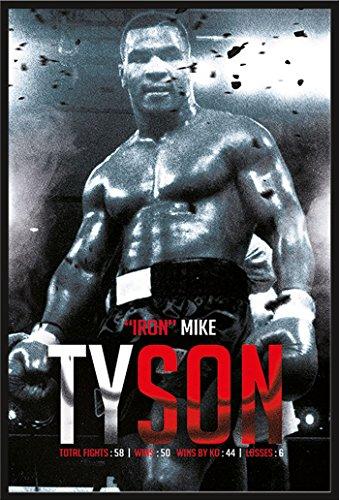 Preisvergleich Produktbild Mike Tyson - Boxing Record - Poster Plakat Druck - Größe 61x91, 5 cm + Wechselrahmen der Marke Shinsuke® Maxi aus Kunststoff schwarz - mit Acrylglas-Scheibe.