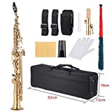 ammoon Brass Straight Soprano Sax Saxophone Bb B flat wood Wind Instrument Pattern Natural shell Key Carve Carrying Case Gloves Cleaning Cloth Grease Cleaning Rod Straps Gold
