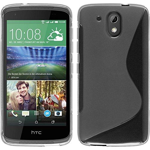 PhoneNatic Case kompatibel mit HTC Desire 526G+ - Clear Silikon Hülle S-Style + 2 Schutzfolien