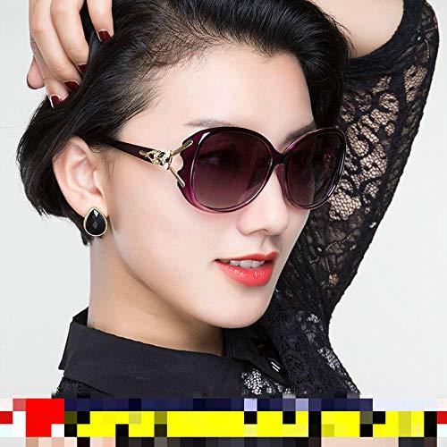 Damen Sonnenbrille Koreanische Version der Flut Brille rundes Gesicht langes Gesicht polarisierte Sonnenbrille weibliche polarisierte lila Rahmen progressive lila, Diamant-verkrustete lila Rahmen lil