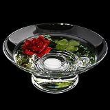 Runde Glas-Schale Hollow H.10cm ø 25cm. Flache Dekoschale rund mit Dekorations Set Rose rot Dekoglas Glasgefäß mit ausgefallener Deko für Ihre Deko Ideen. Glasdeko Glasschalen von Glaskönig