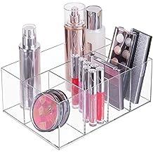 mDesign Organizador de maquillaje – Caja transparente con 5 compartimentos - Ideal para guardar maquillaje,