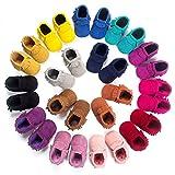 Chaussures Bebe en cuir Souple, BOBORA Chaussons Bebe Filles Garcons Premiers Pas pour 0-6, 6-12, 12-34Mois