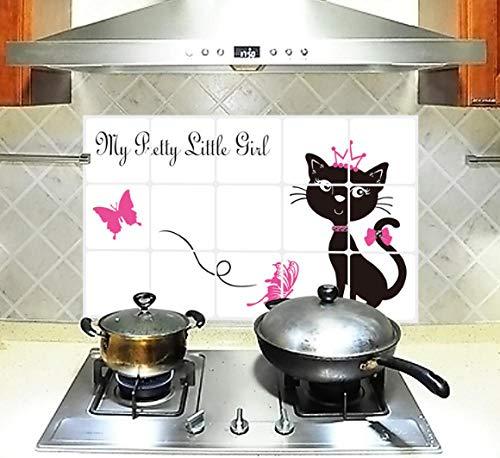 kuimmaTM Anti-Rauch-Aufkleber schwarze Katze Anti-Öl-Paste Küchenfliese Aluminiumpfütze ölbeständiger Aufkleber