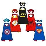 OCMCMO Capa de superhéroe para Niños ,Juguetes para Niños y Niñas , Kit de Valor de Cosplay de diseño de Fiesta de cumpleaños de Navidad - 5 * Capa y 5 * máscaras