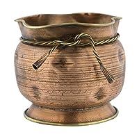 Artısan Metal Bakır-Pirinç El İşçiliği Saksı Vazo Nostaljik Eskitme İşlemeli