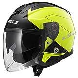 LS2 Casco Moto Of521 Infinity Beyond, Black Hi-Vis Yellow, L